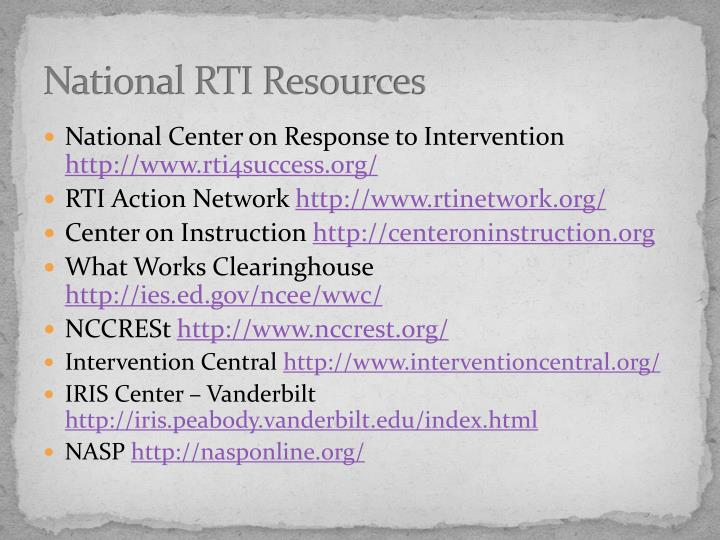 National RTI Resources