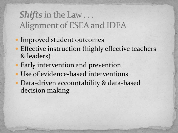 Shifts in the law alignment of esea and idea