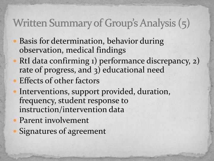 Written Summary of Group's Analysis (5)