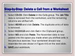 step by step delete a cell from a worksheet