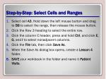 step by step select cells and ranges