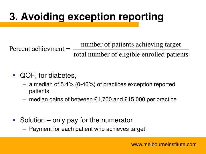 3. Avoiding exception reporting