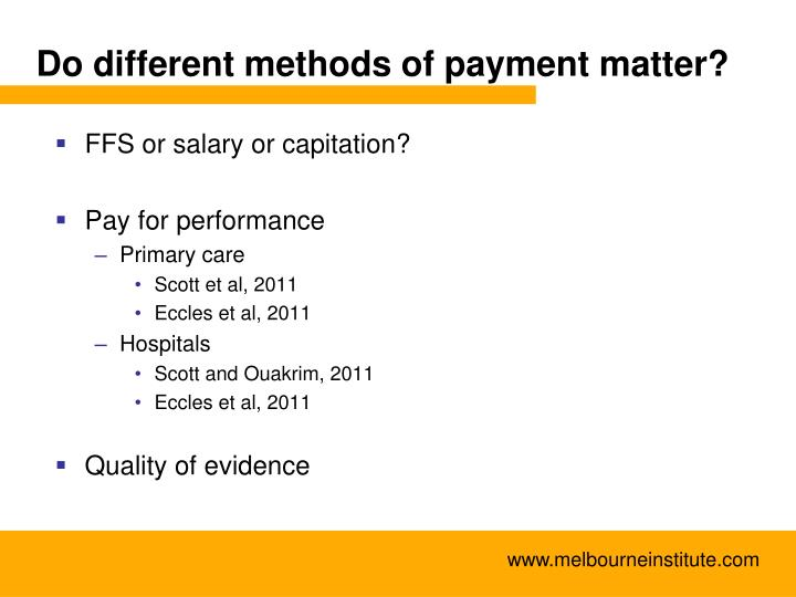 Do different methods of payment matter?
