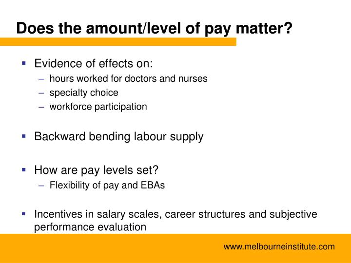 Does the amount/level of pay matter?
