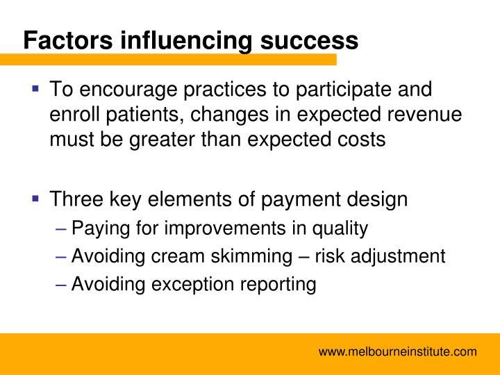Factors influencing success