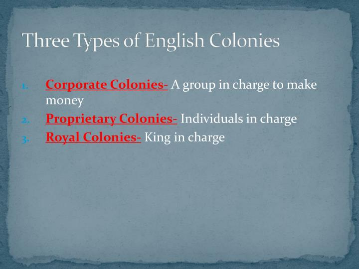 Three Types of English Colonies
