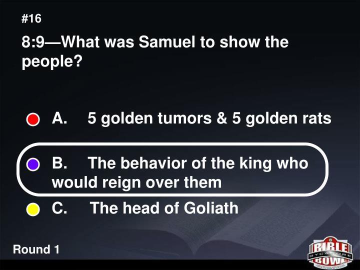 A.  5 golden tumors & 5 golden rats