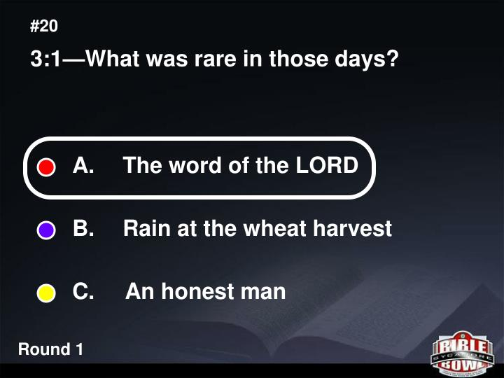 A.  The word of the LORD
