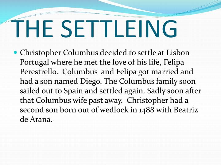 THE SETTLEING