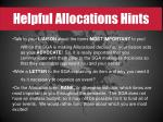 helpful allocations hints