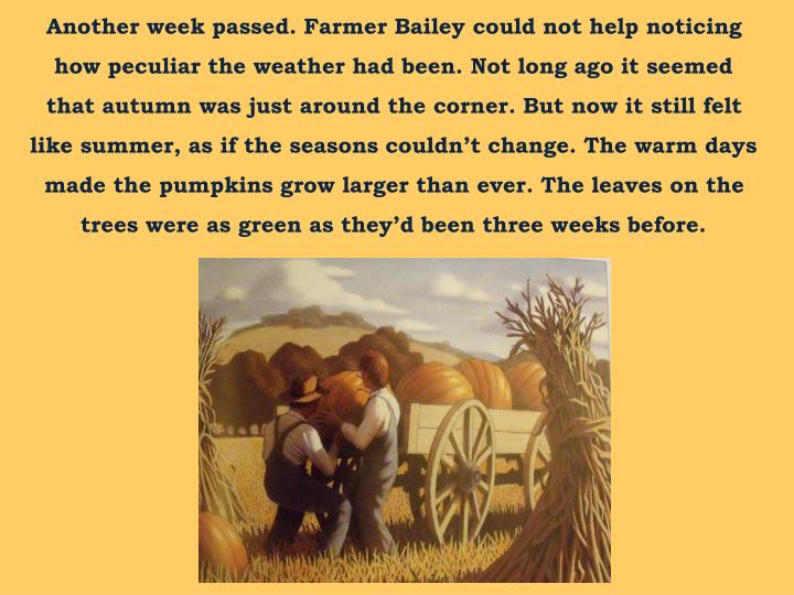 Another week passed. Farmer Bailey could not help noticing how peculiar the weather had been. Not long ago it seemed that autumn was just around the corner. But now it still felt like summer, as if the seasons couldn't change. The warm days made the pumpkins grow larger than ever. The leaves on the trees were as green as they'd been three weeks before.
