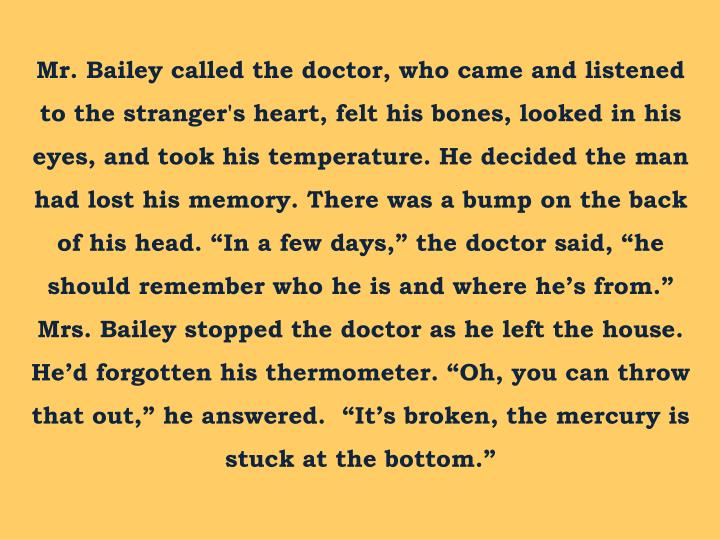 "Mr. Bailey called the doctor, who came and listened to the stranger's heart, felt his bones, looked in his eyes, and took his temperature. He decided the man had lost his memory. There was a bump on the back of his head. ""In a few days,"" the doctor said, ""he should remember who he is and where he's from."" Mrs. Bailey stopped the doctor"