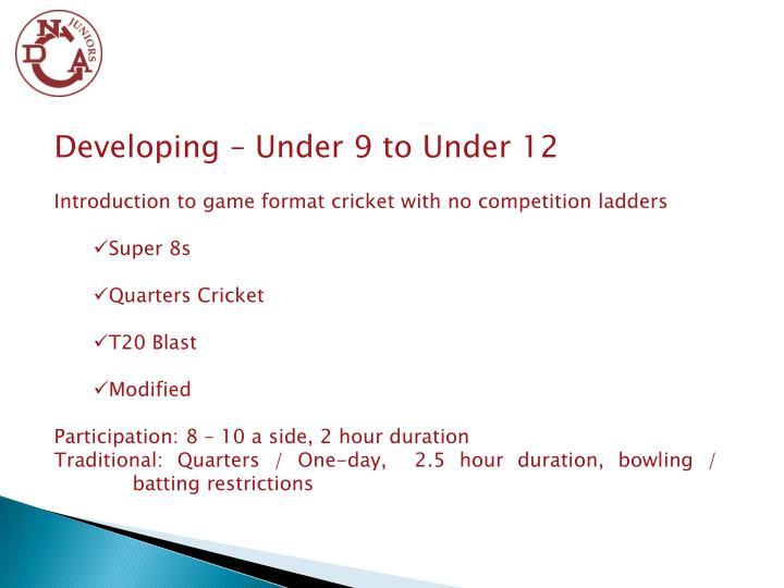 Developing – Under 9 to Under 12