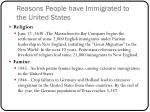 reasons people have immigrated to the united states
