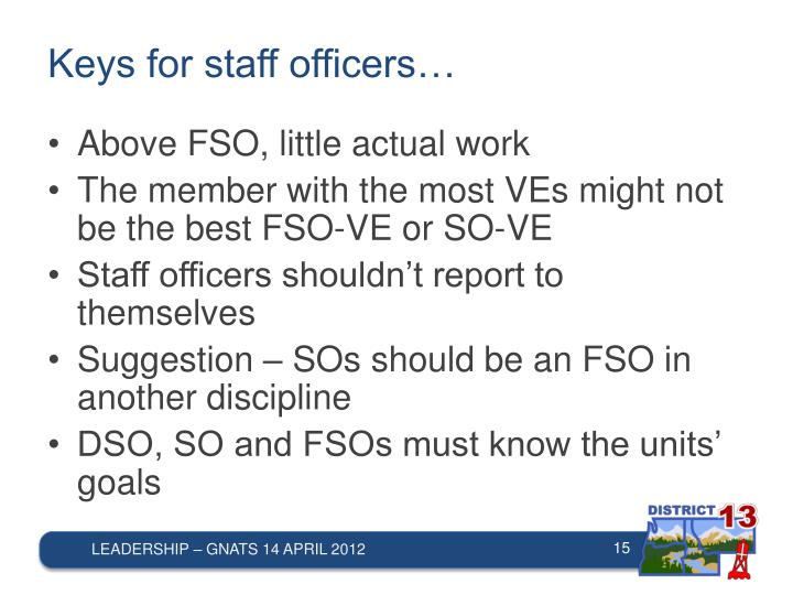 Keys for staff officers…