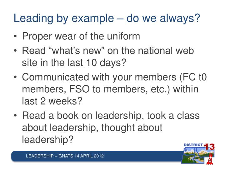 Leading by example – do we always?