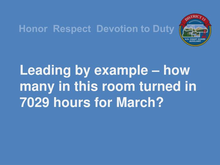 Leading by example – how many in this room turned in 7029 hours for March?