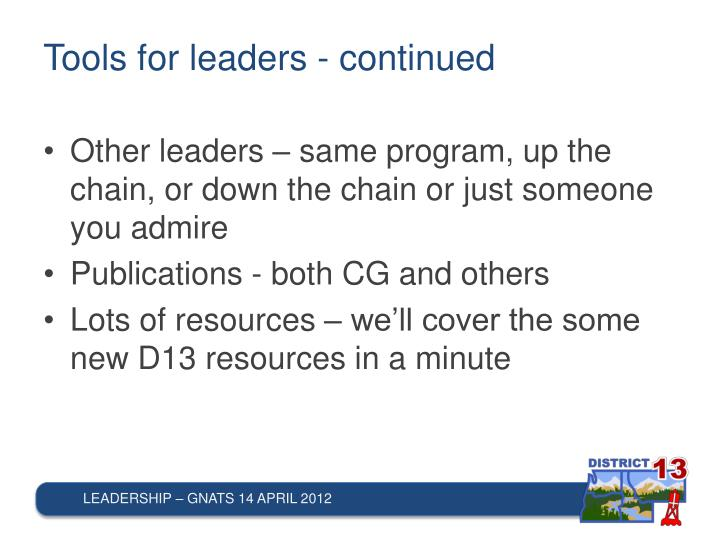 Tools for leaders - continued