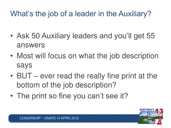 What's the job of a leader in the Auxiliary?