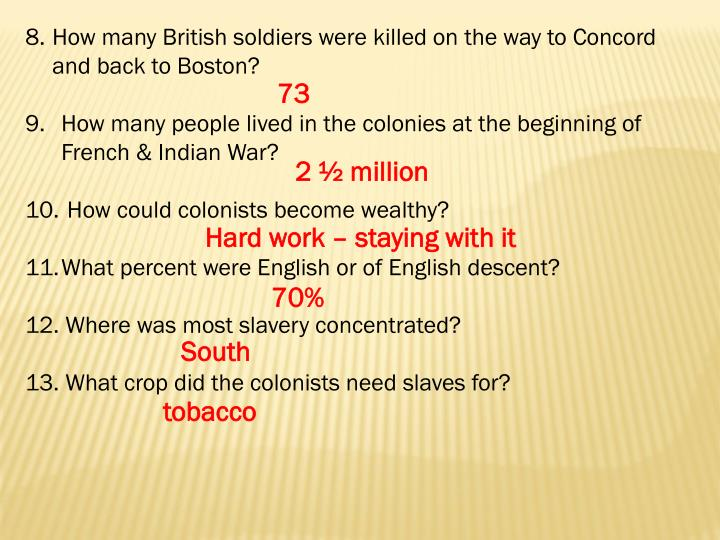 How many British soldiers were killed on the way to Concord and back to Boston?