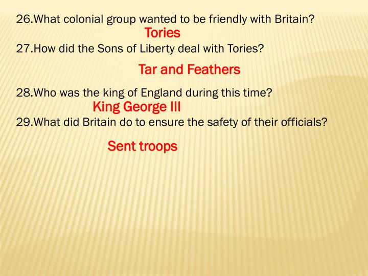 What colonial group wanted to be friendly with Britain?