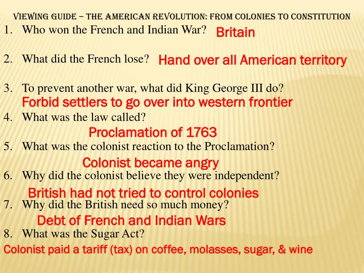 Viewing Guide – The American Revolution: From Colonies to Constitution