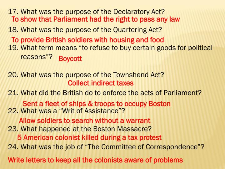 What was the purpose of the Declaratory Act?