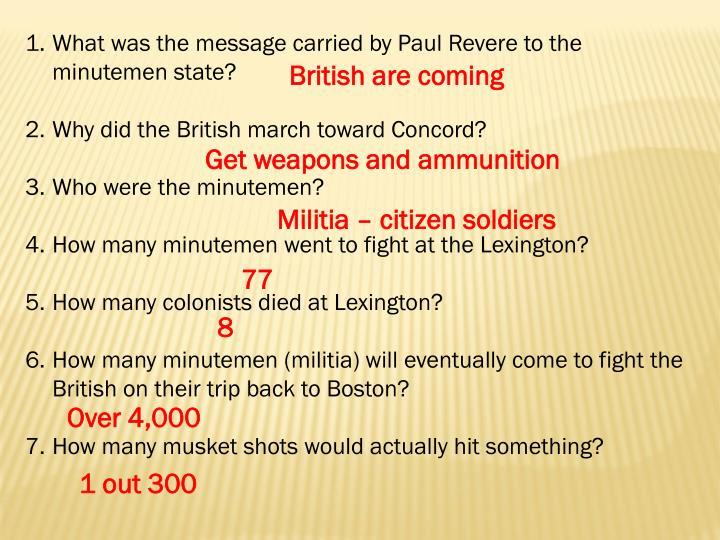 What was the message carried by Paul Revere to the minutemen state?