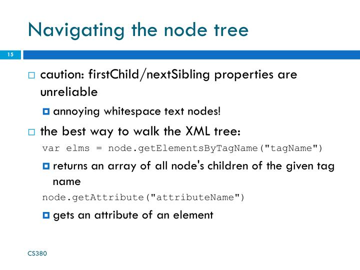 Navigating the node tree