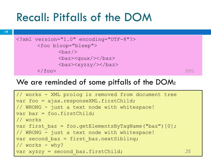 Recall: Pitfalls of the DOM