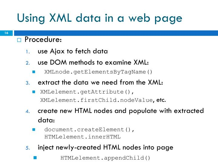 Using XML data in a web page