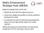 maths enhancement strategic hubs mesh