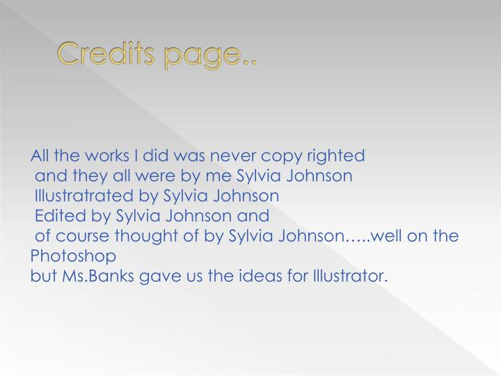 Credits page..