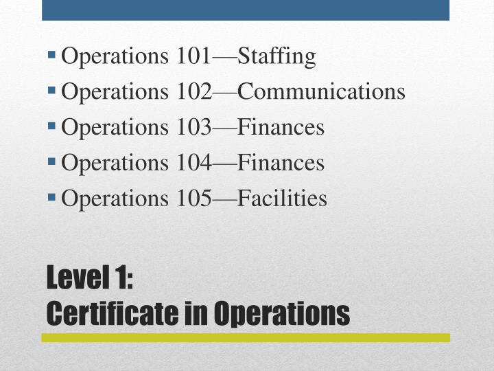 Level 1 certificate in operations