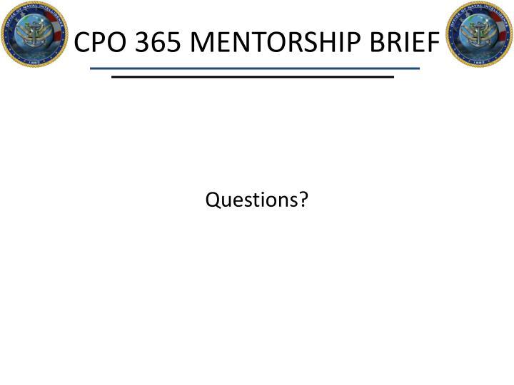 CPO 365 MENTORSHIP BRIEF