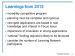 learnings from 20135