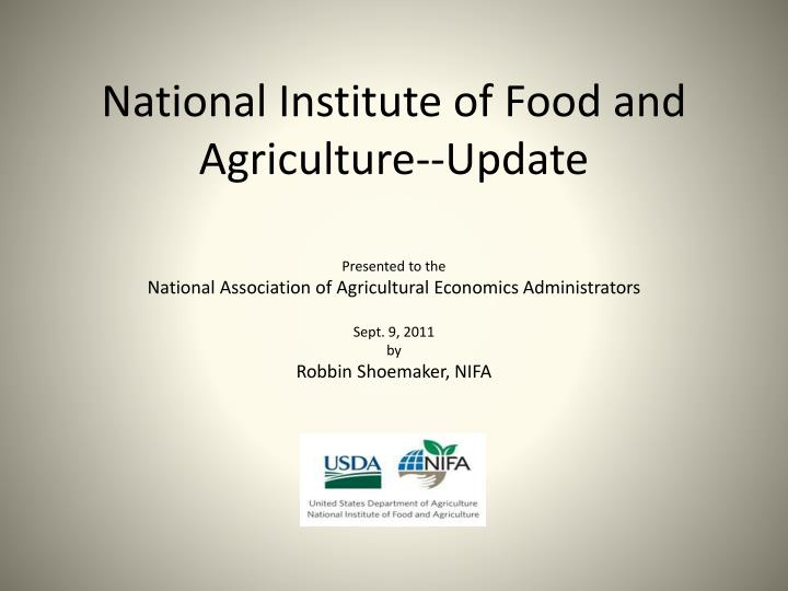 National institute of food and agriculture update