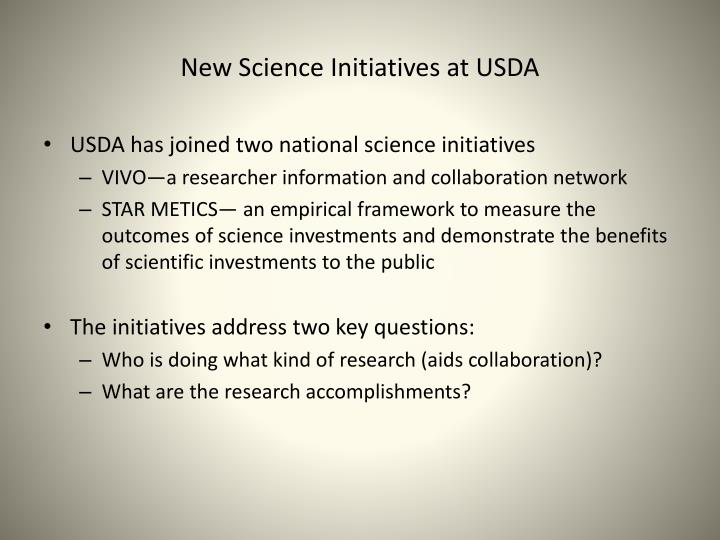 New Science Initiatives at USDA