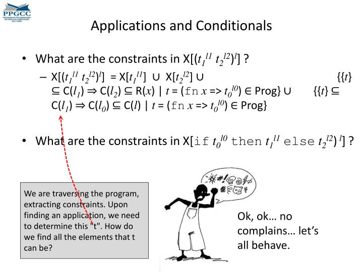 Applications and Conditionals