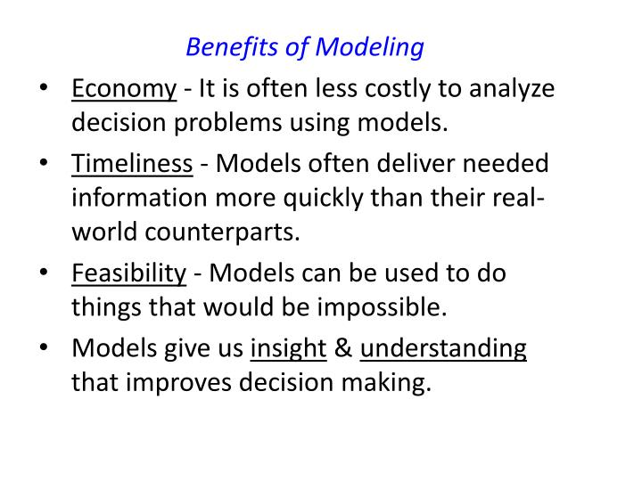 Benefits of Modeling