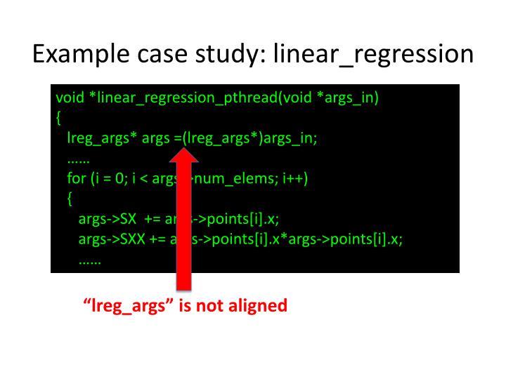 Example case study: