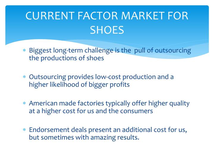 CURRENT FACTOR MARKET FOR SHOES