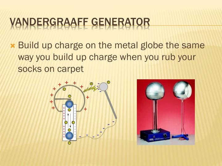 Build up charge on the metal globe the same way you build up charge when you rub your socks on carpet