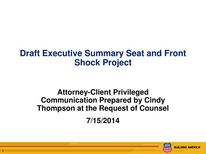 draft executive summary seat and front shock project n.