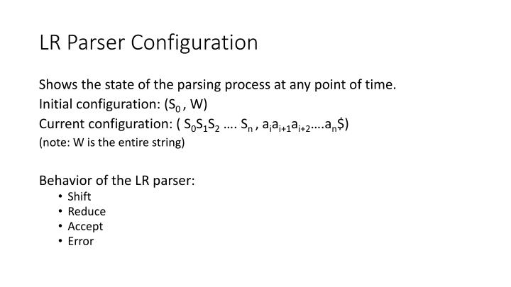 LR Parser Configuration