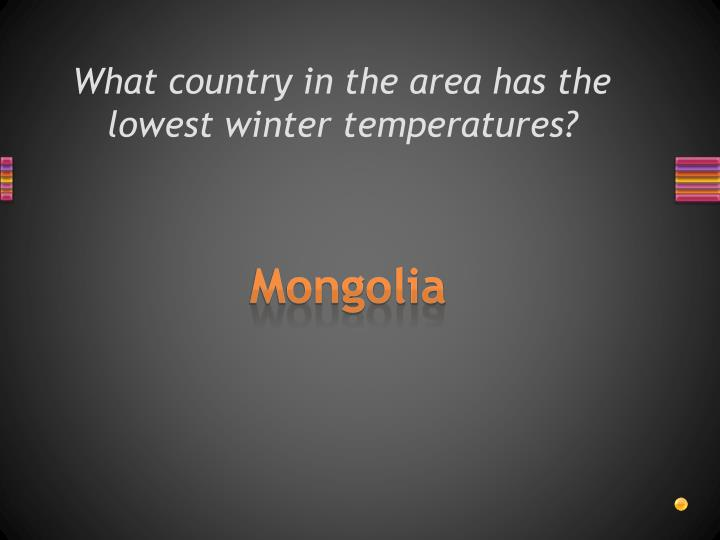 What country in the area has the lowest winter