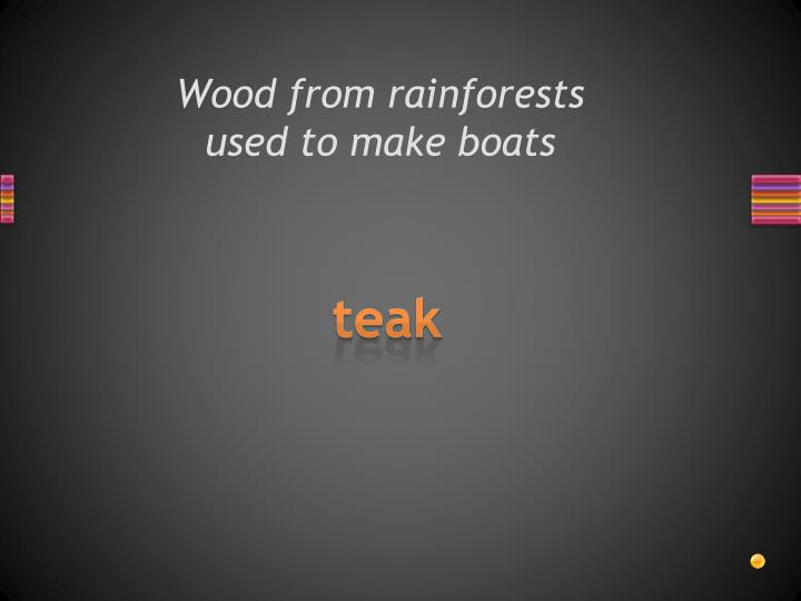 Wood from rainforests