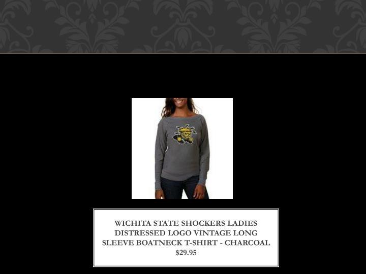 Wichita state shockers ladies distressed logo vintage long sleeve boatneck t shirt charcoal 29 95