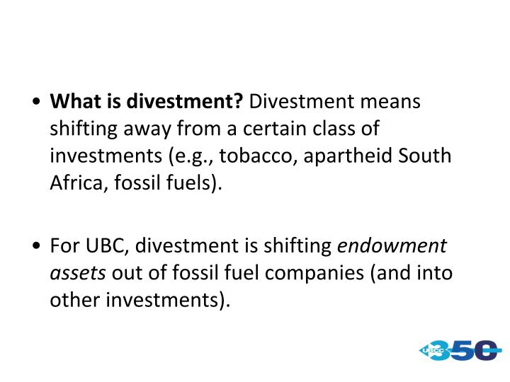 What is divestment?