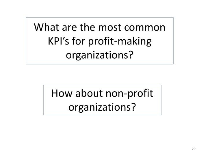 What are the most common KPI's for profit-making organizations?